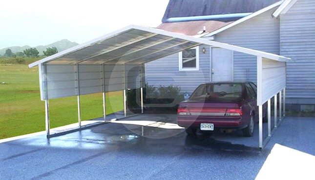 18x21x6 a frame metal carport boxed eave carport with for Carports with sides