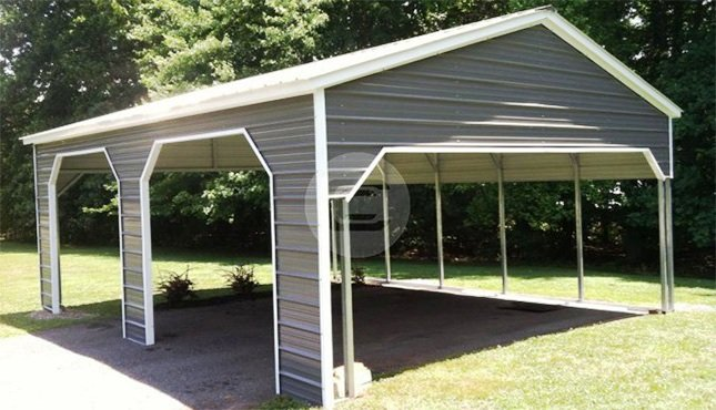 Side Entrance Carports : Vertical style side entry carport