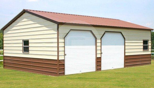 24x31x9 Vertical Roof Side Entry Metal Garage Plan