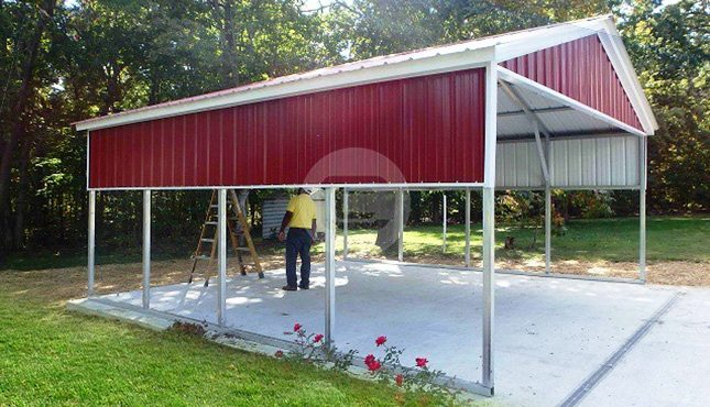 8x14 Metal Carport : Carport with vertical certified gable ends and