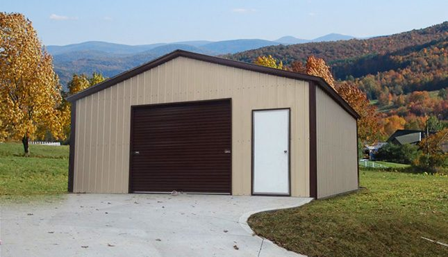 Steel Frame Garage : Boxed eave metal garage building a frame standard