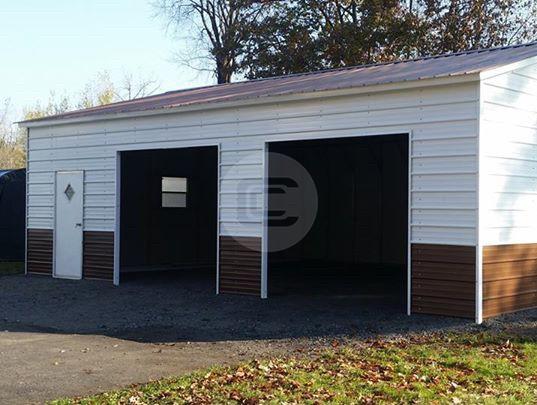 18x26 Vertical Roof Garage Side Entry Steel Garage