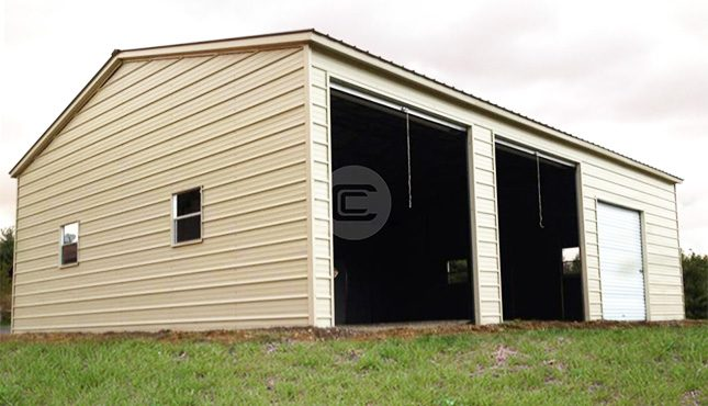 20x31 vertical roof side entry prefab garage with metal for Side entry garage