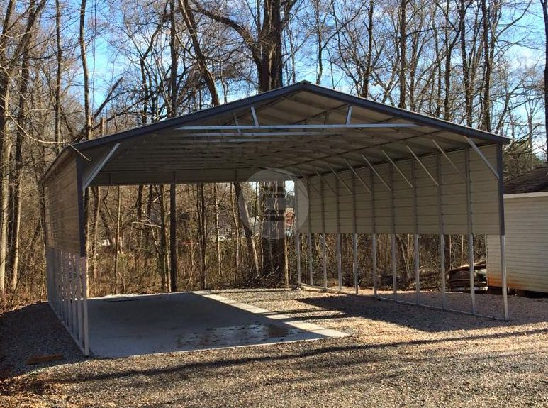 26x41x12 Triple Wide Carport With Side Panels Metal
