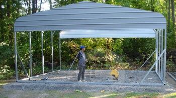 Carport graveled slab carport central for Slab foundation cost calculator
