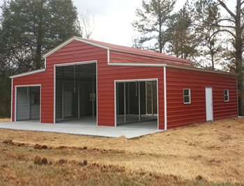 Vertical roof style metal barns seneca barn building for for Small metal homes for sale