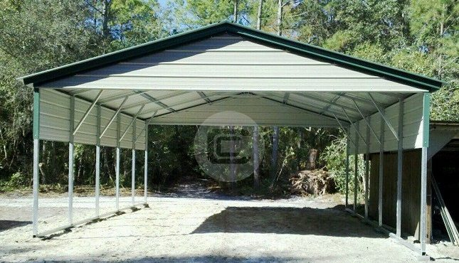 20x26x9 - 2 Car Steel Carport Kit - Custom Metal Carport Structure