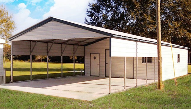 Vertical roof style carports vertical roof metal for Carport with storage shed attached
