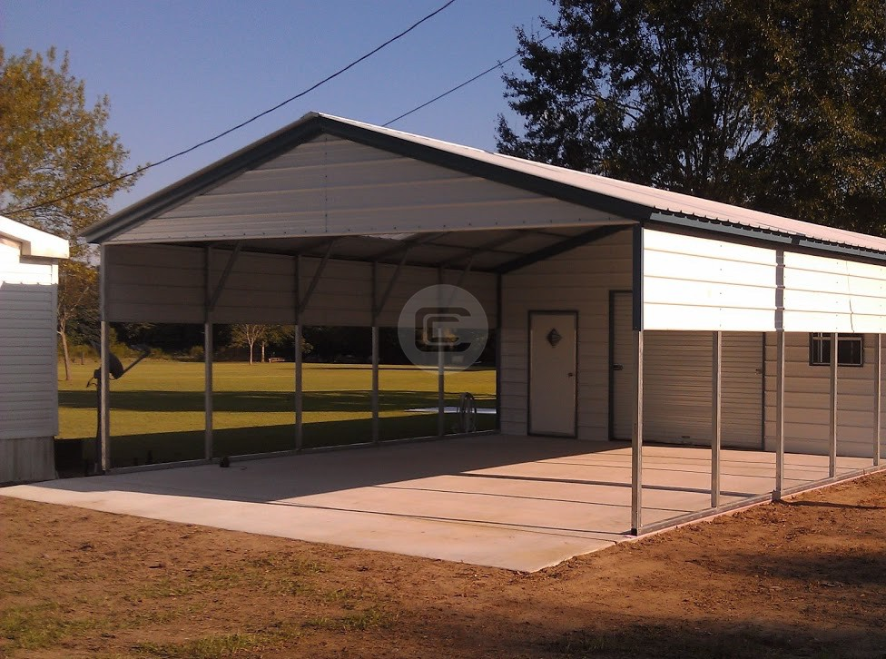 22x56 vertcal roof utility carport building enclosed for Carport with storage shed attached