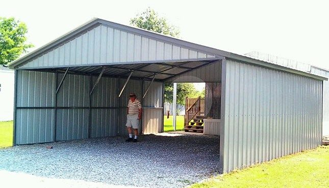 Enclosed Steel Carport Building