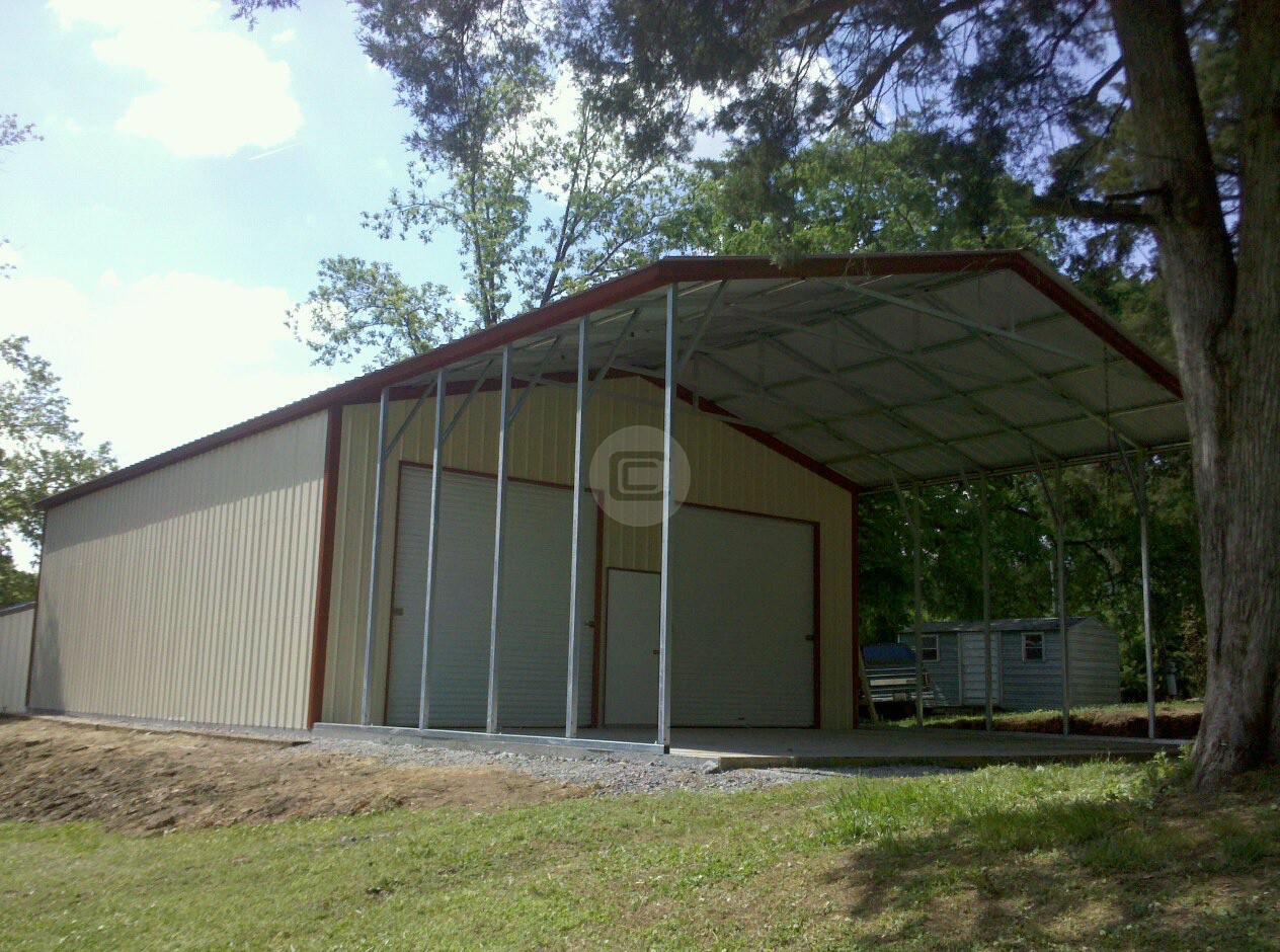 30x51 workshop garage custom carport with options for Carport one
