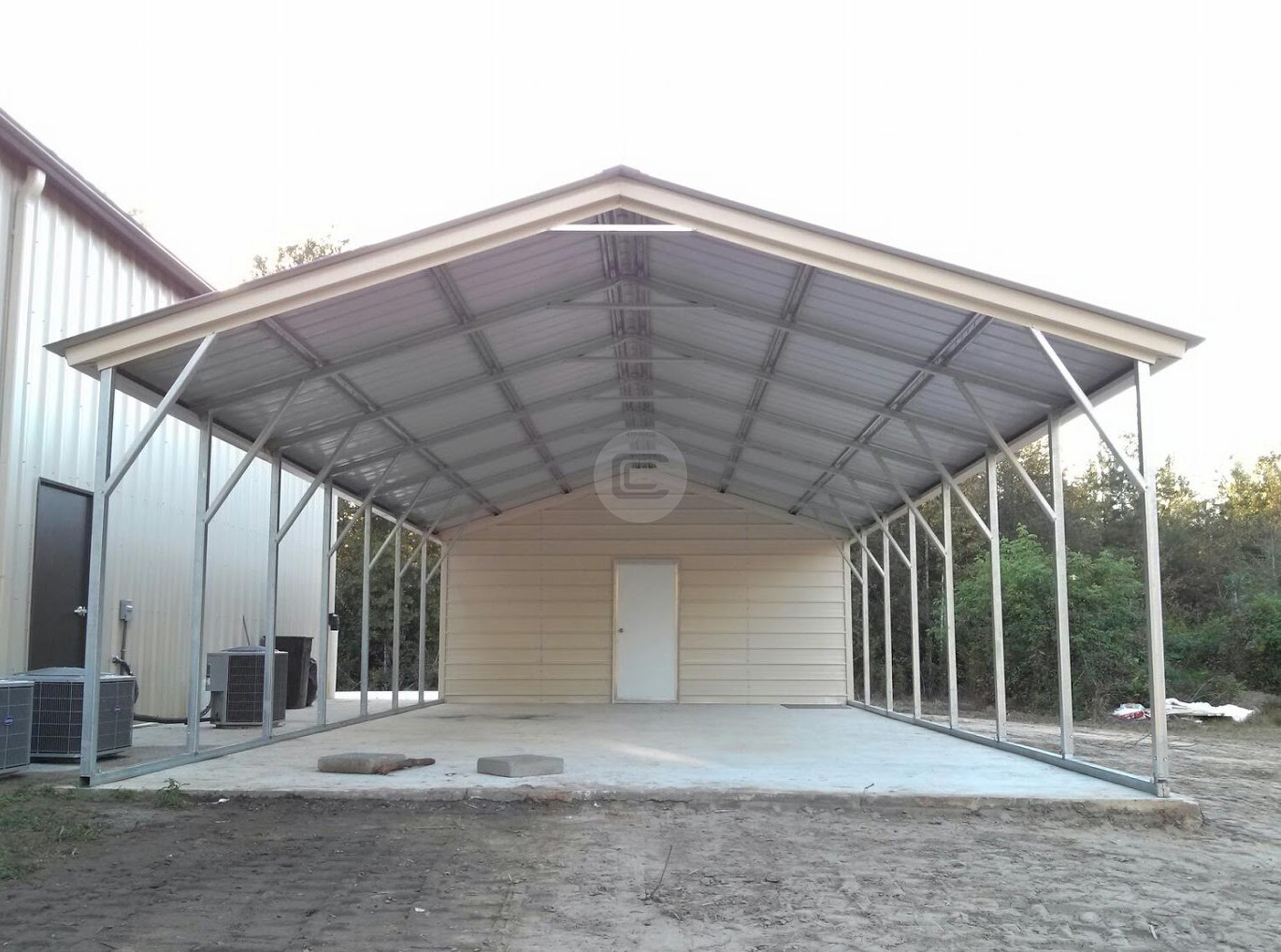 24x41 Utility Carport, Vertical Roof Storage, Enclosed Carport
