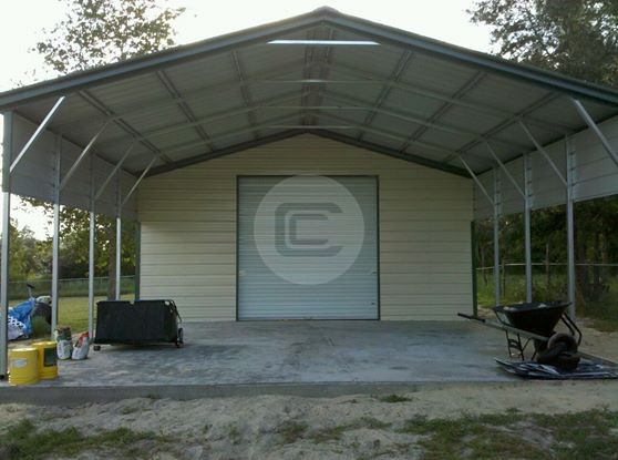 Vertical roof style 2 car metal carport 24x31 steel for Carport shop combo