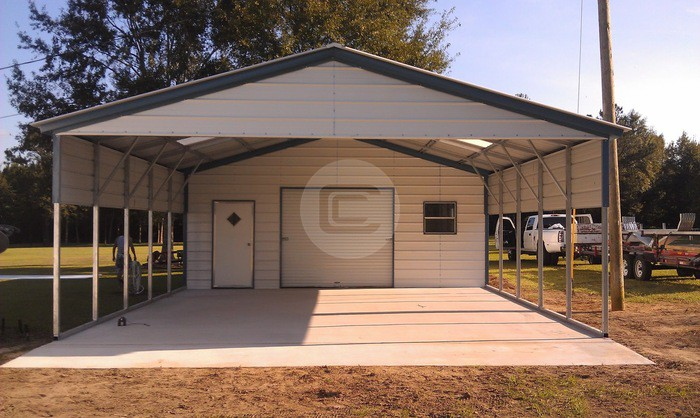 Steel utility carport carport central for Carport with storage shed attached