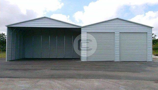 48x26x9 Carport with Garage