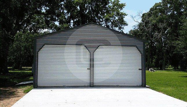 Two Car Metal Garage-1