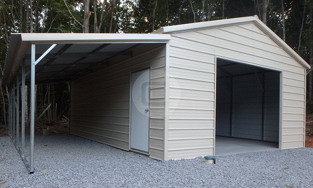 Lean to metal carports steel buildings flexible for Attached garage kits