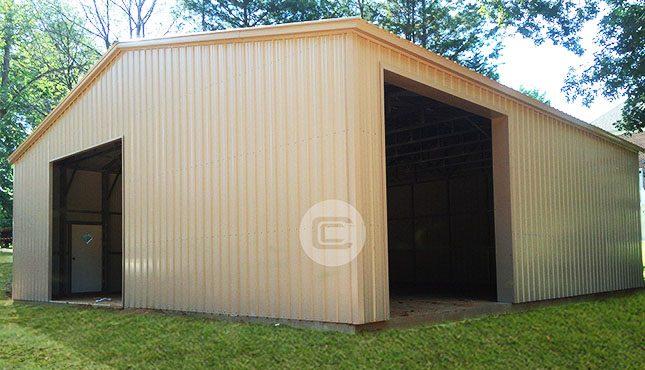 Metal Workshop with 2 garage doors & Metal Workshop Building - 30x36x12 All Vertical Workshop