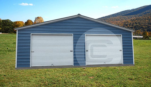 2 Car Garage Vertical Roof Two Car Metal Garage