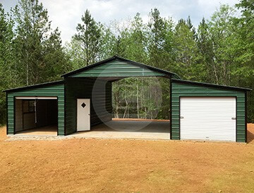 Raised center aisle metal carolina barn ga with vertical for Metal barn pictures