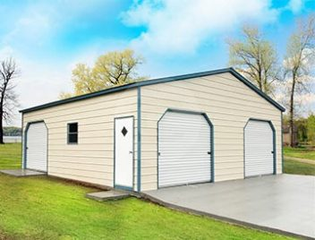 Metal carports custom garage buildings rv carport for Affordable barns and garages
