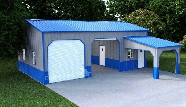 Side Entry Garage With Lean To