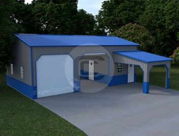 22x36-Side-Entry-Metal-Garage-with-Lean-to