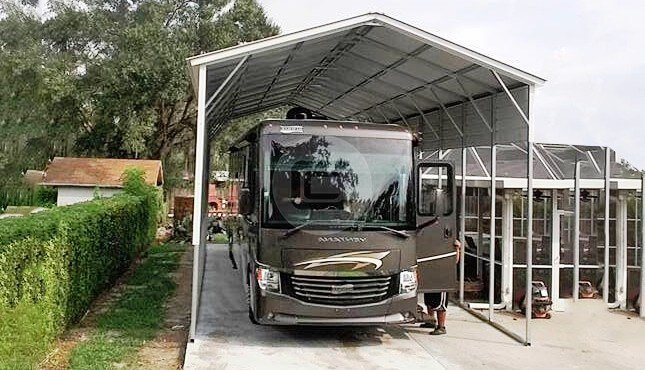 metal rv carports rv cover kits custom rv shelters for. Black Bedroom Furniture Sets. Home Design Ideas
