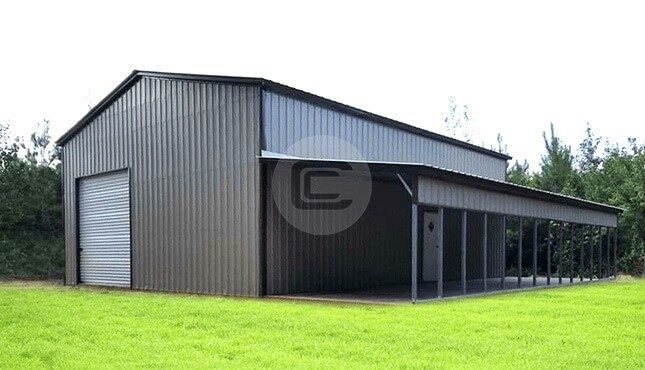 42x56x14 Garage With Lean To Metal Workshop With Lean To