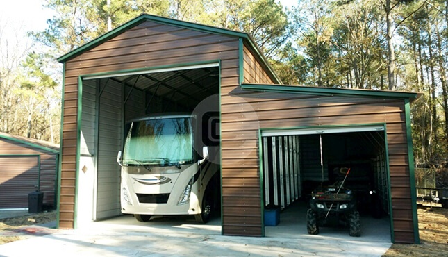 Metal rv carports rv cover kits custom rv shelters for for Motorhome with garage