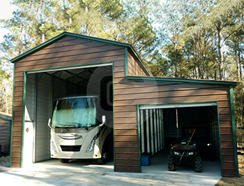 Metal rv carports rv cover kits custom rv shelters for for Motorhome garage kits