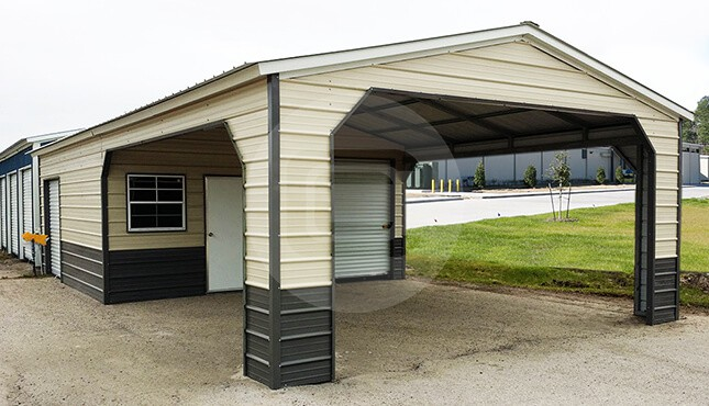 Utility carports metal carports with storage combo for Carport builder