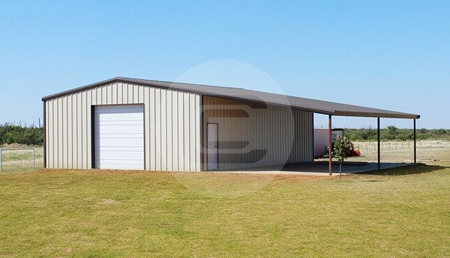 44x41 lean to garage metal garage with lean to price for Garage with lean to