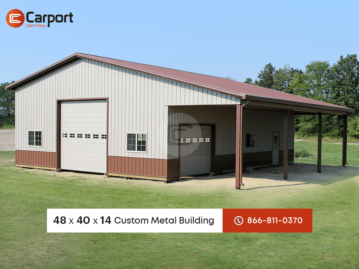 48x40 lean to garage building metal building of the week for Garage with lean to