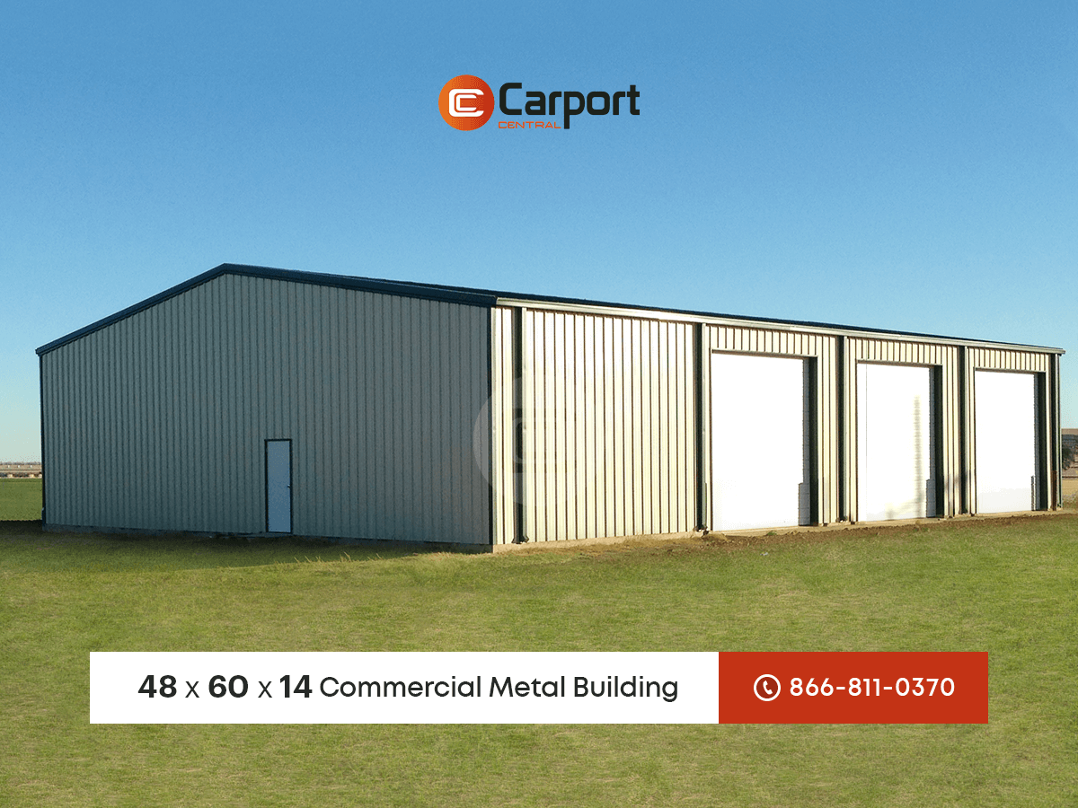 Commercial Steel Garages With An Overhand : Commercial garage metal building of the week