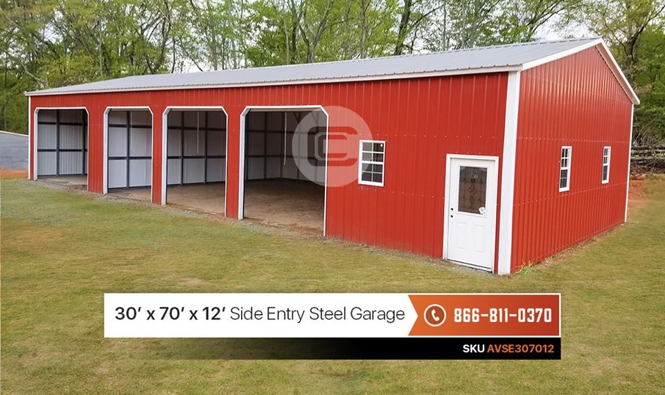 30x70 Insulated Side Entry Garage