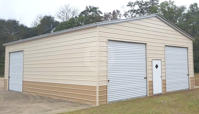 28x40 Two-Tone Metal Garage