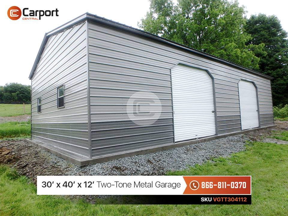 30x40 two tone metal garage carport central for 30 x 40 carport