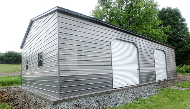30x40 Two-Tone Metal Garage