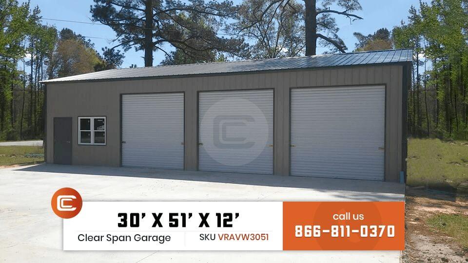 30x50 Clear Span Garage