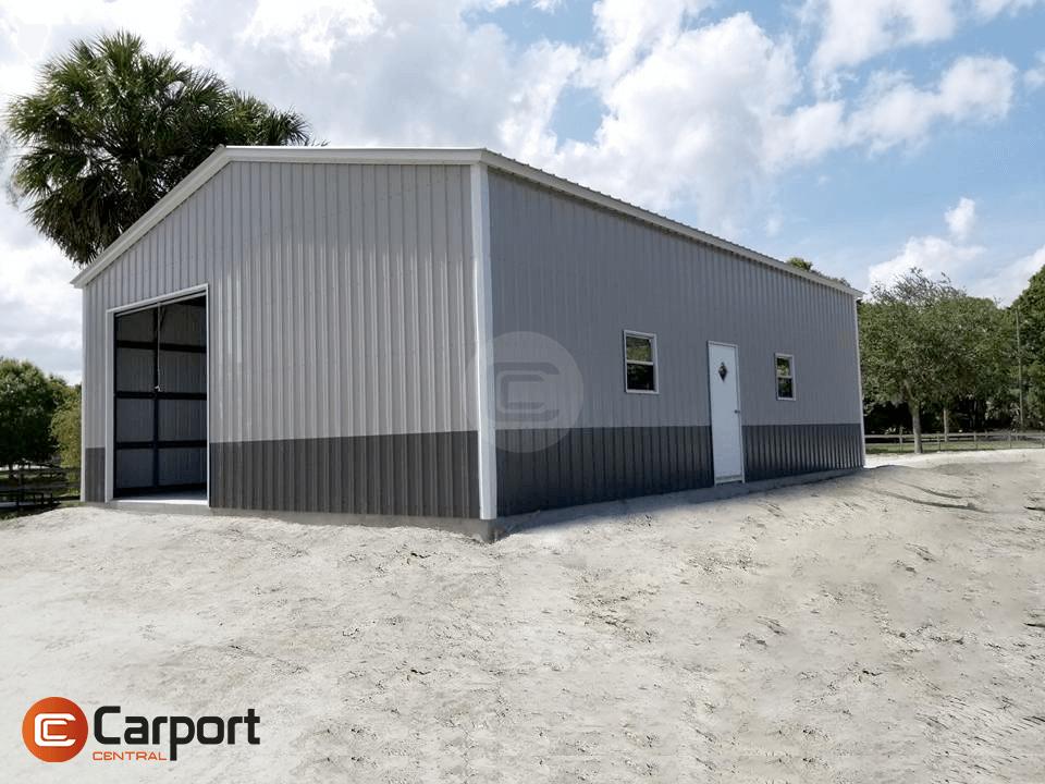 30×46 Metal Garage - Sideview