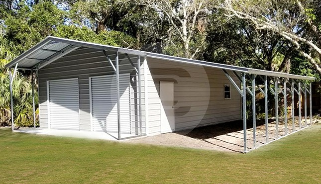 36×36 Garage with lean-to