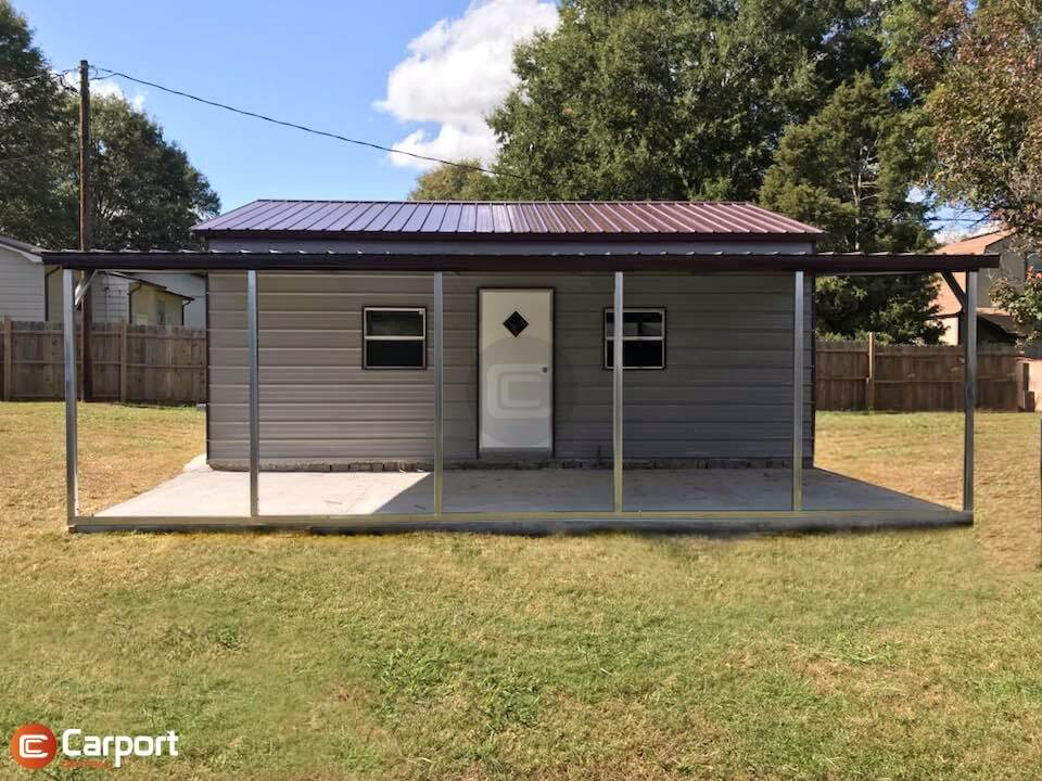 32x25 Lean To Metal Garage -Front