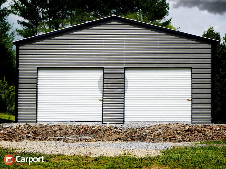 30x30 Two Door Metal Garge - Front