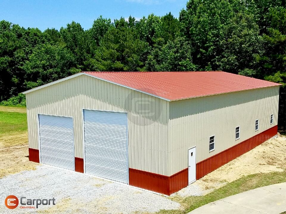 40x70 Metal Garage Building - Sideview