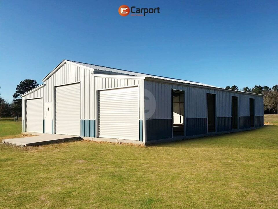 42x55 Fully Enclosed Metal Barn - Sideview