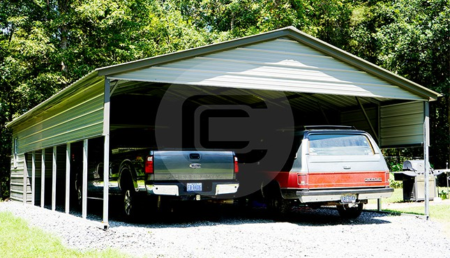 2 Car Carport with Storage