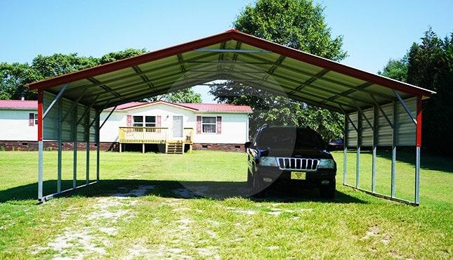 24x21 Vertical Roof Steel Carport