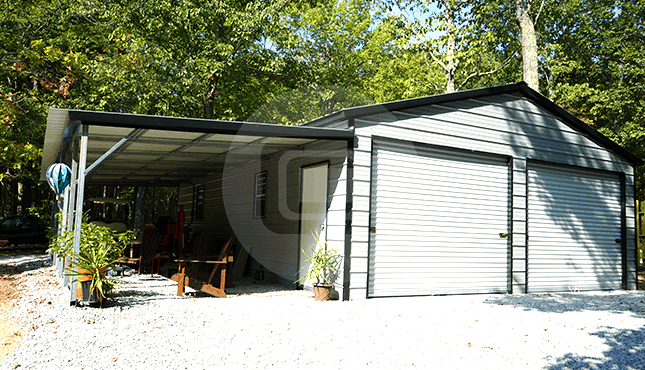 36x36 Lean-to Garage Building