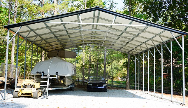 30×36 Vertical Roof Metal Boat Carport